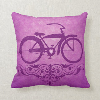 Vintage Bicycle Pink Pillow Throw Cushion