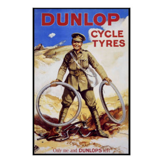 Vintage Bicycle Poster - Dunlop Cycle Tyres