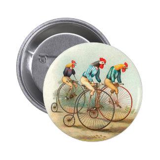 Vintage Bicycle Poster, Pennyfarthing Roosters 6 Cm Round Badge
