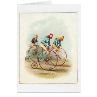 Vintage Bicycle Poster, Pennyfarthing Roosters Greeting Card