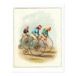 Vintage Bicycle Poster, Pennyfarthing Roosters Postcard