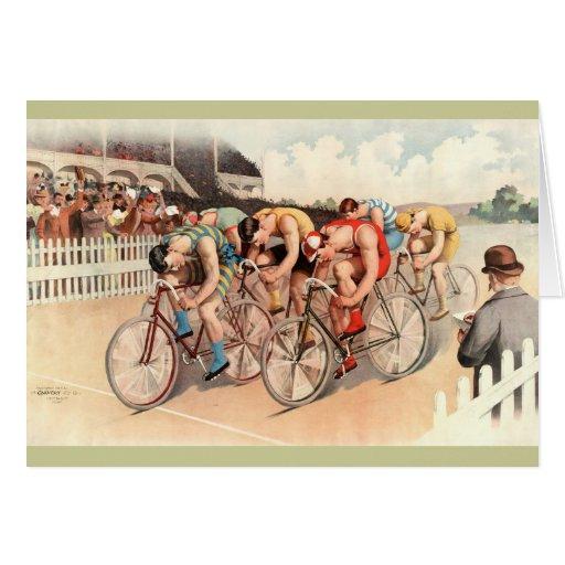Vintage Bicycle Race Poster Art Greeting Card