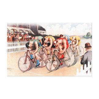 Vintage Bicycle Race Scene Canvas Print