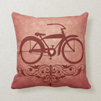 Vintage Bicycle Red Pillow Cushion