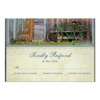 Vintage Bicycle Rustic Barn Wedding RSVP Cards 9 Cm X 13 Cm Invitation Card
