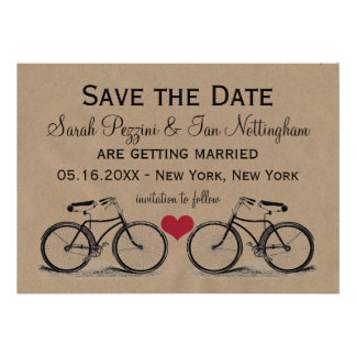 Vintage Bicycle Save the Date Wedding Cards Personalized Invitation