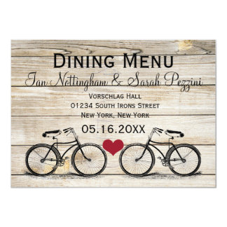 Vintage Bicycle Wedding Dining Menu Cards