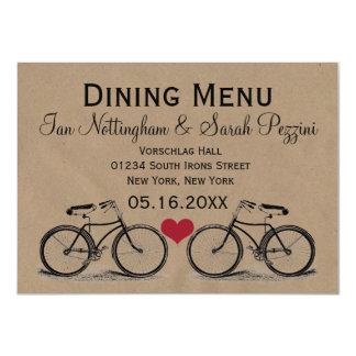 Vintage Bicycle Wedding Dining Menu Cards 11 Cm X 16 Cm Invitation Card
