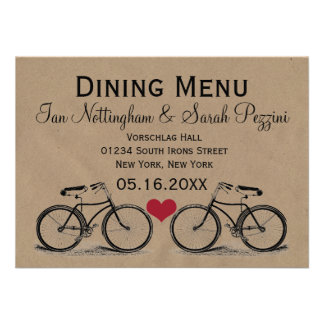 Vintage Bicycle Wedding Dining Menu Personalized Announcements