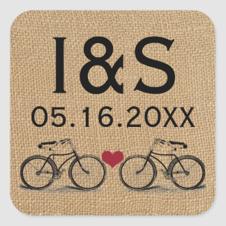 Vintage Bicycle Wedding Favor Stickers