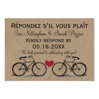 Vintage Bicycle Wedding RSVP Cards 9 Cm X 13 Cm Invitation Card