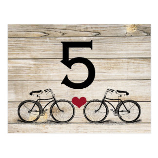 Vintage Bicycle Wedding Table Numbers Post Cards