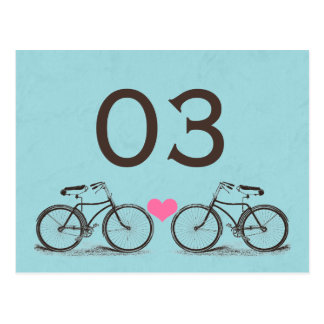 Vintage Bicycle Wedding Table Numbers Postcard