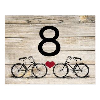 Vintage Bicycle Wedding Table Numbers Postcards