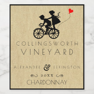 Vintage Bicycle Wedding Wine Label