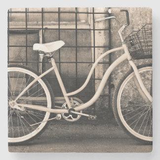 Vintage Bicycle With Basket Stone Coaster