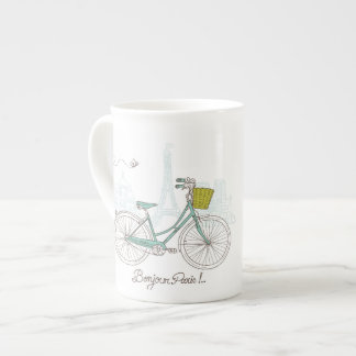 Vintage Bicycle with cute basket in Paris Tea Cup