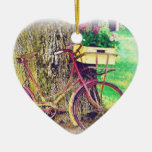 Vintage Bicycle with Flower Basket Ceramic Heart Decoration