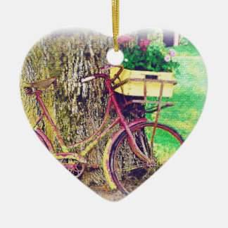 Vintage Bicycle with Flower Basket Ornament
