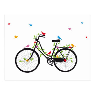 Vintage bicycle with flowers and birds postcard