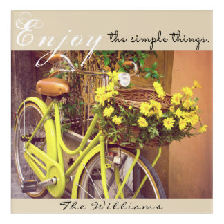 Vintage Bicycle Yellow Basket of Flowers Wall Art