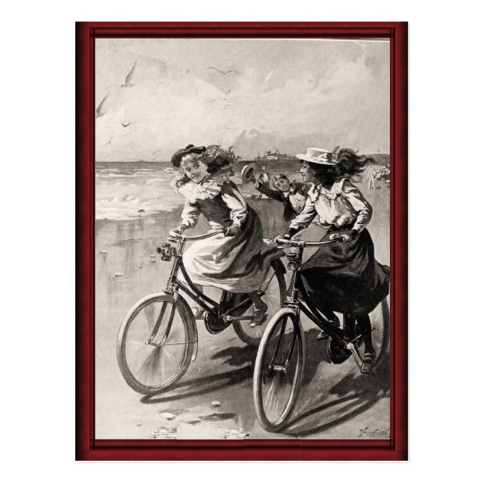 Vintage bicycles on the beach postcard