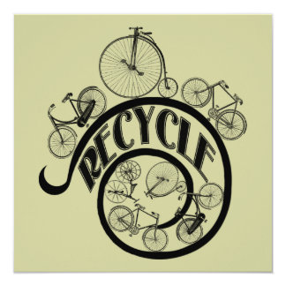 Vintage Bicycles Recycle Apparel and Gifts 13 Cm X 13 Cm Square Invitation Card