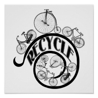 Vintage Bicycles Recycle Apparel and Gifts Poster