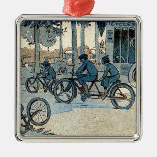 Vintage Bicycling Print Christmas Ornament