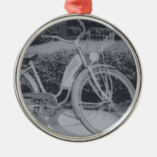 Vintage Bicycyle Silver-Colored Round Decoration