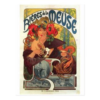 Vintage Bieres de la Meuse by Alphonse Mucha Postcard