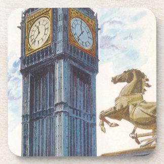 Vintage Big Ben Clock Tower Horse Statue, London Beverage Coaster