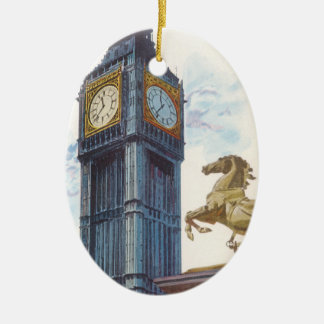 Vintage Big Ben Clock Tower Horse Statue, London Christmas Ornament