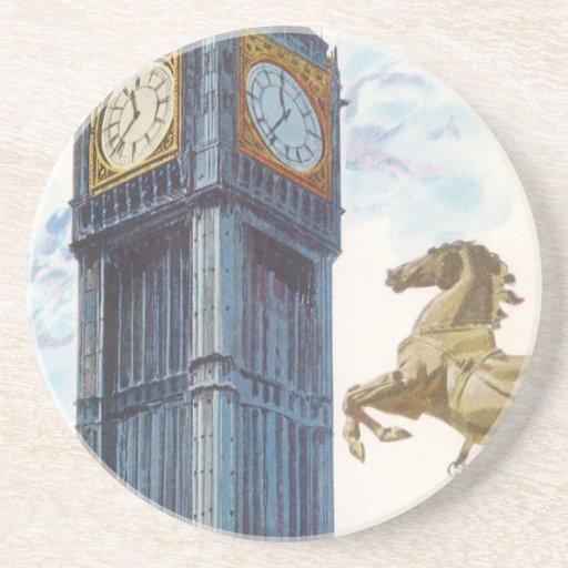 Vintage Big Ben Clock Tower Horse Statue, London Drink Coaster