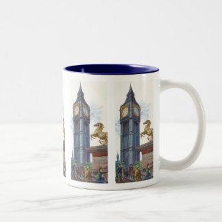 Vintage Big Ben Clock Tower Horse Statue, London Two-Tone Coffee Mug