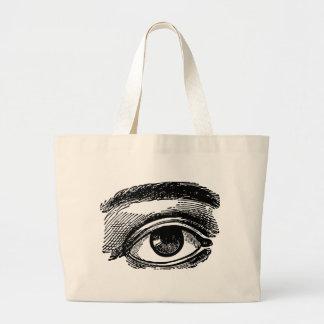 Vintage Big Eye Wood Engraving Tote Bags