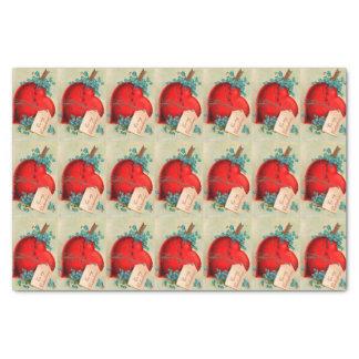 """Vintage Big Red Bleeding Heart Valentine Postcard 10"""" X 15"""" Tissue Paper"""