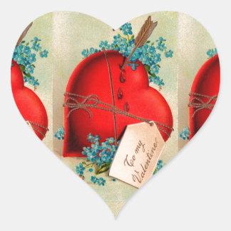 Vintage Big Red Bleeding Heart Valentine Postcard Heart Sticker