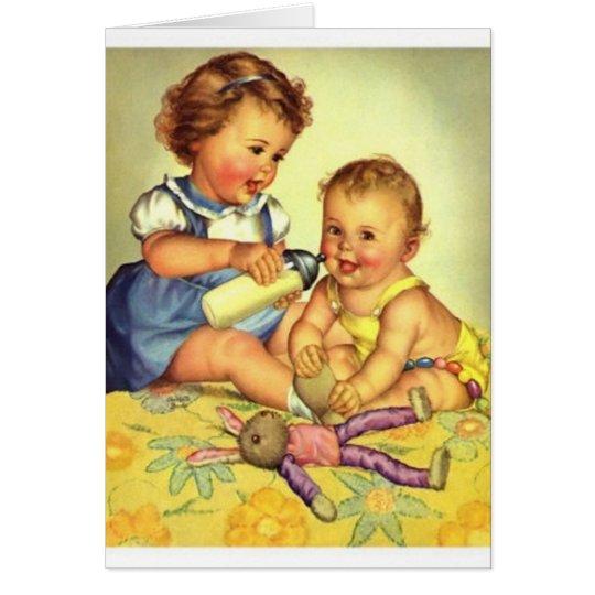 Vintage Big Sister Baby Sister Note Card