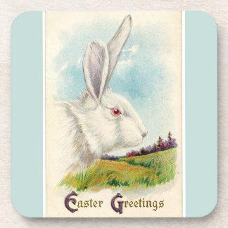 Vintage Big White Easter Rabbit Light Blue Coaster