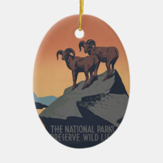 Vintage Bighorn Sheep Wildlife Poster Christmas Ornament