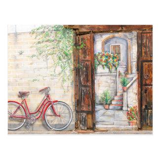 Vintage bike background postcard