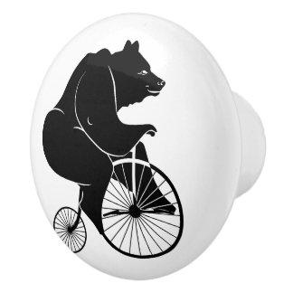 Vintage Bike Black Bear Ceramic Knob