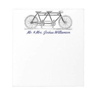Vintage Bike Built For Two Just Married Monogram Notepad