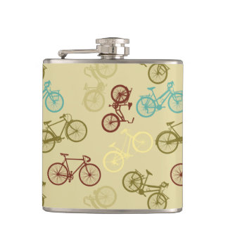 Vintage bike pattern hip flask