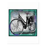 Vintage Bike Ride Teal Post Card