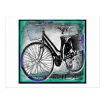 Vintage Bike Ride Teal Post Cards