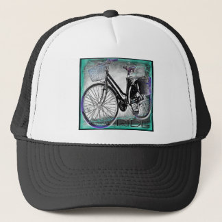 Vintage Bike Ride Teal Trucker Hat