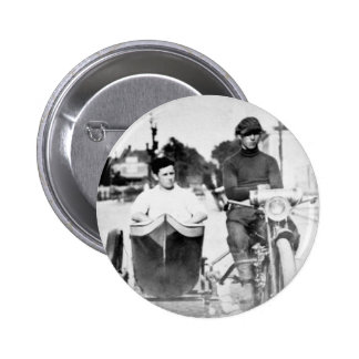 Vintage Biker Outlaw Motorcycle and Sidecar 6 Cm Round Badge