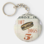 Vintage Billboard, Worlds Largest Drive In Hotdogs Basic Round Button Key Ring